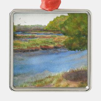 squamscott Fluss an den newfields am 31. Juli 2015 Silbernes Ornament