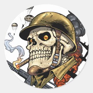 Squelette militaire aéroporté bombardiers de sticker rond