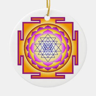 Sri Chakra Göttin Shri Lalitha Tripura Sundari Rundes Keramik Ornament