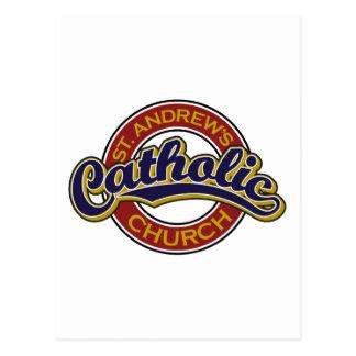 St Andrew katholische Kirchen-Blau auf Rot Postkarte