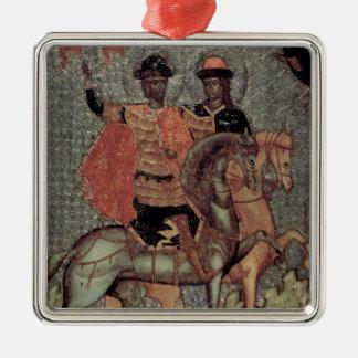 St. Boris und St. Gleb brachten, c.1377 an Quadratisches Silberfarbenes Ornament