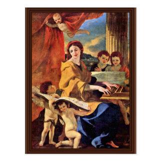 St Cecilia durch Poussin Nicolas (beste Qualität) Postkarte
