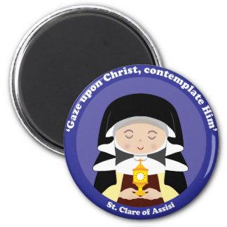St. Clare von Assisi Runder Magnet 5,1 Cm