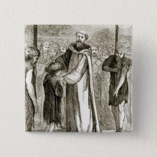 St. Columba segnet einen wilden Jungen, 'vom Quadratischer Button 5,1 Cm