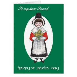 St David Tag, Waliser-Kostüm, für Freund Grußkarte