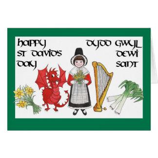 St David Tagesgruß-Karte: Zweisprachig Grußkarte
