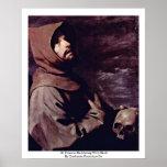 St Francis méditant avec le crâne Posters