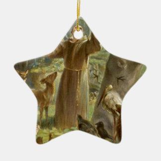 St Francis von Assisi predigend zu den Tieren Keramik Ornament