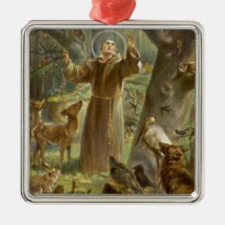 St Francis von Assisi predigend zu den Tieren Quadratisches Silberfarbenes Ornament
