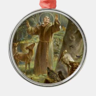 St Francis von Assisi predigend zu den Tieren Rundes Silberfarbenes Ornament