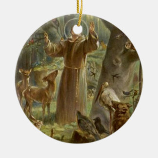St Francis von Assisi umgab durch Tiere Keramik Ornament