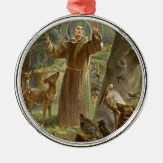 St Francis von Assisi umgab durch Tiere Silbernes Ornament