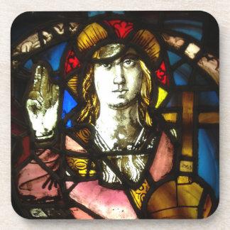 St George der DracheSlayer im Buntglas Getränkeuntersetzer