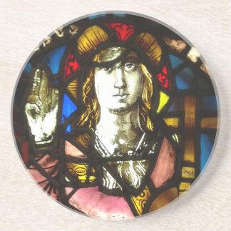 St George der DracheSlayer im Buntglas Sandstein Untersetzer