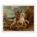 St George massacrant le dragon, (huile sur le pann Posters