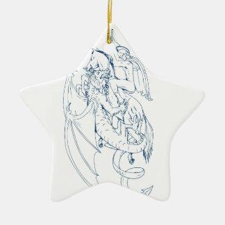 St George töten das Drache-Zeichnen Keramik Ornament
