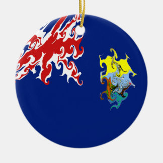 St. Helena Gnarly Flagge Rundes Keramik Ornament
