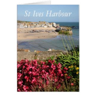 St. Ives Hafen-Rosa-Blumen Karte