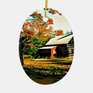 St- Josephinsel-Blockhaus Ovales Keramik Ornament