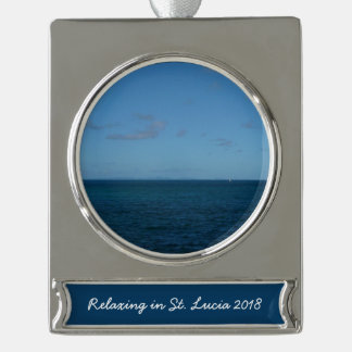 St- Luciahorizont-Blau-Ozean Banner-Ornament Silber