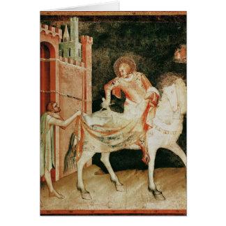 St Martin, das seinen Mantel mit dem Bettler teilt Grußkarte
