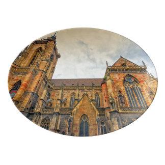 St Martin Kirche, Colmar, Frankreich Porzellan Servierplatte