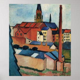 St. Marys mit Häusern und Kamin bis August Macke Poster
