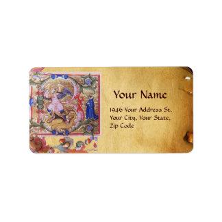 St Michael das Erzengel-Antiken-Pergament Adressaufkleber