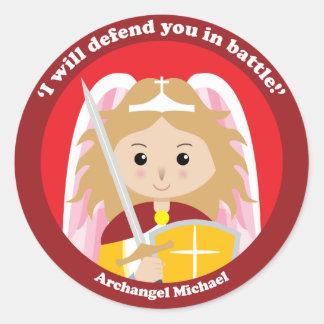 St Michael der Erzengel Runder Aufkleber