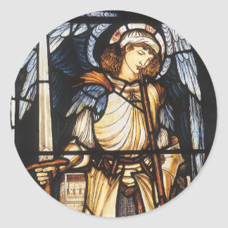 St Michael durch Burne Jones, Vintager Erzengel Runder Aufkleber