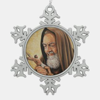 St. Padre Pio mit Kruzifix Schneeflocken Zinn-Ornament