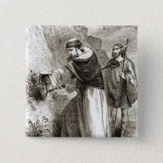 St Patrick, das Connals Schild mit dem Kreuz Quadratischer Button 5,1 Cm