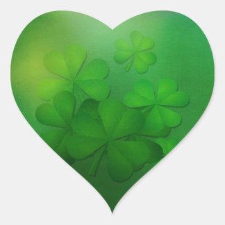 St Patrick Tag - Klee/Kleeblätter Herz-Aufkleber