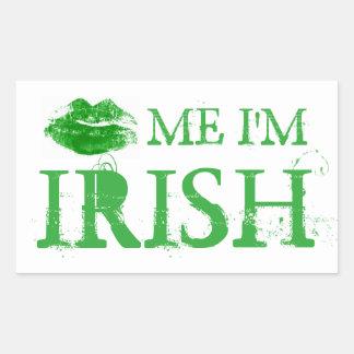 St Patrick Tag küssen mich, den ich irische grüne Rechteckiger Aufkleber