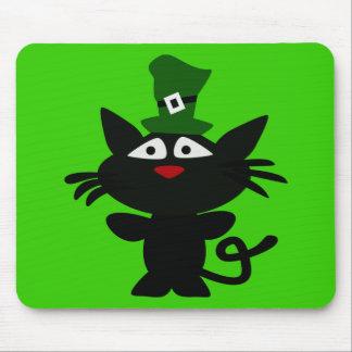 St Patrick Tag: Schwarze Katze Mousepad