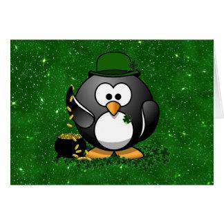 St Patrick Tagesglücklicher Pinguin mit Goldschatz Karte