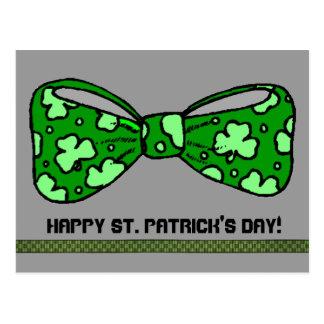 St Patrick Tagesgrün-Bogen-Krawatten-Postkarte Postkarte