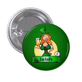 St Patrick Tagesirisches Mädchen Runder Button 2,5 Cm