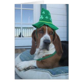 St Patrick Tageskarte mit Basset Hound Grußkarte