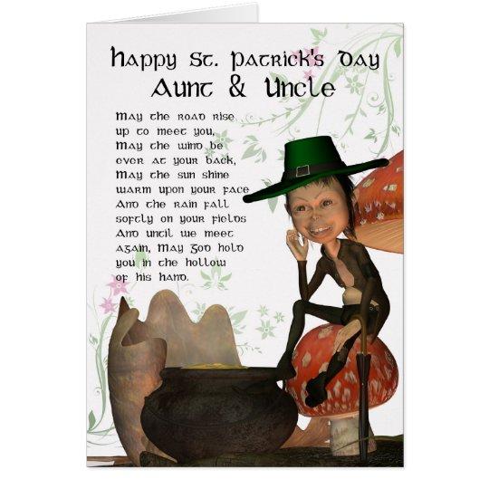 St Patrick Tageskarte mit Kobold Tante u. Uncl Grußkarte