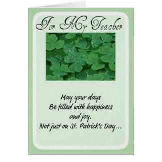 St Patrick Tageskarten-Lehrer Karte
