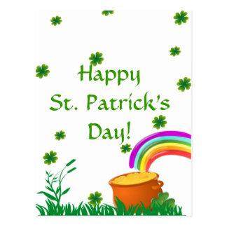 St Patrick Tagesklee-goldene Topf-Postkarte Postkarte
