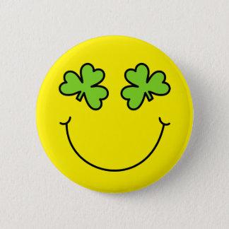 St Patrick TagesKleeblatt mustert Smiley Runder Button 5,7 Cm