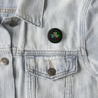 St Patrick TagesKleeblatt und -name Runder Button 3,2 Cm
