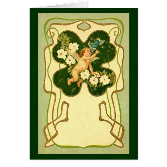 St Patrick Tageskunst Nouveau Engels-Karte Grußkarte