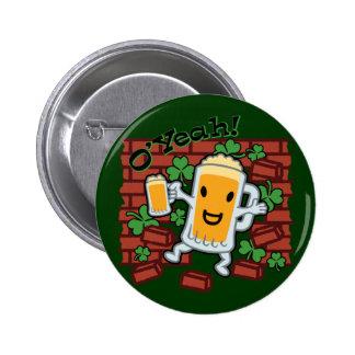 St Patrick Tageslustiger Bier-Mann Runder Button 5,7 Cm
