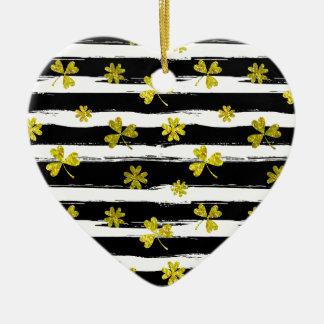 St. patricks Schwarz-weißer Klee Keramik Herz-Ornament