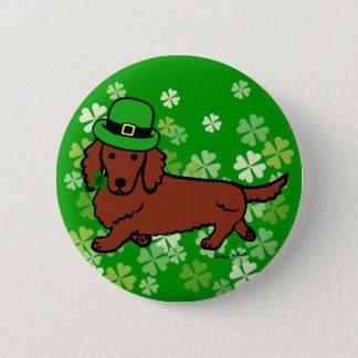 St- PatricktagesDackel-Cartoon Runder Button 5,7 Cm