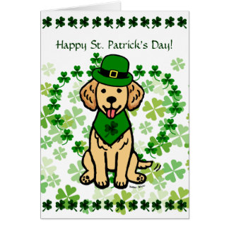 St- Patricktagesgoldener Retriever-Cartoon Karte