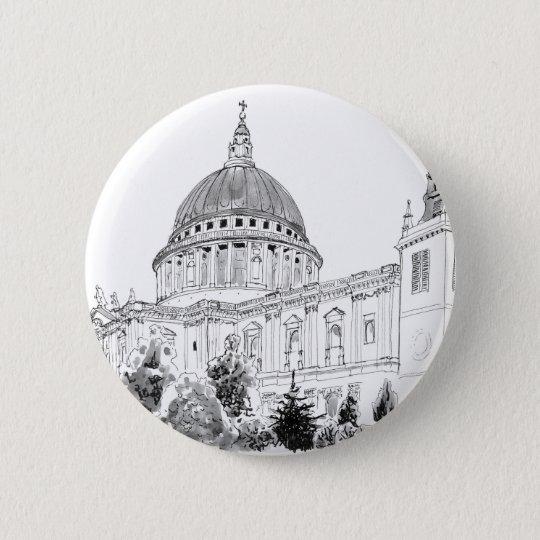 St Paul Kathedralen-Federzeichnen Runder Button 5,1 Cm